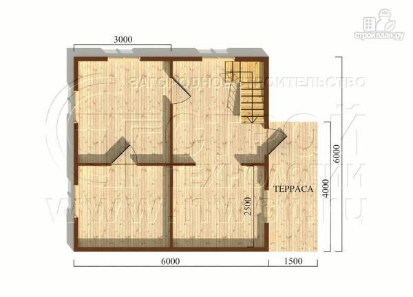 Фото 5: проект дачный дом 6х6 м из бруса с террасой