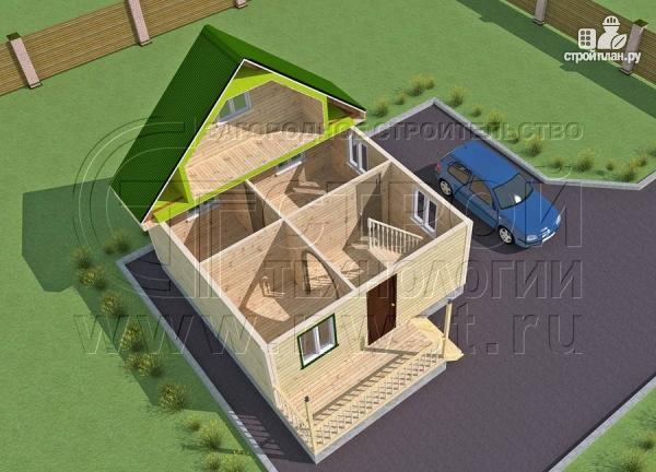 Фото 4: проект дачный дом 6х6 м из бруса с террасой
