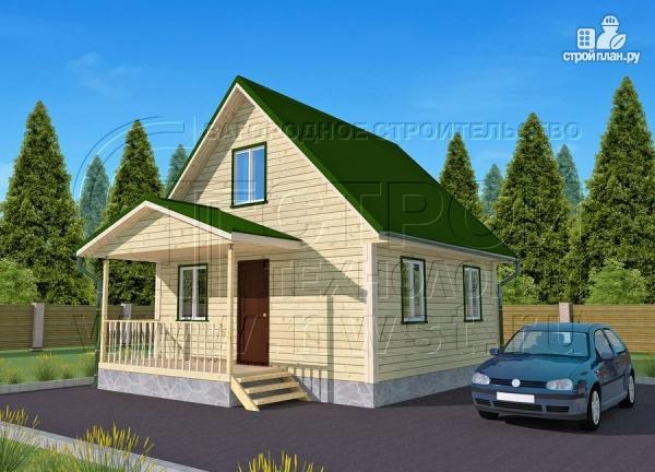Фото: проект дачный дом 6х6 м из бруса с террасой