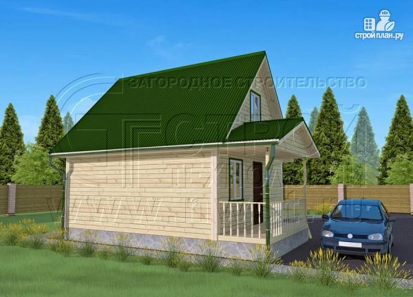 Фото 3: проект дачный дом 6х6 м из бруса с террасой