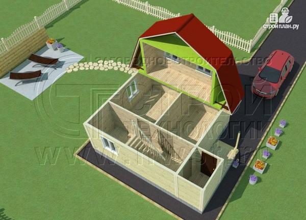 Фото 4: проект дачный дом 6х6 м с крыльцом и мансардой