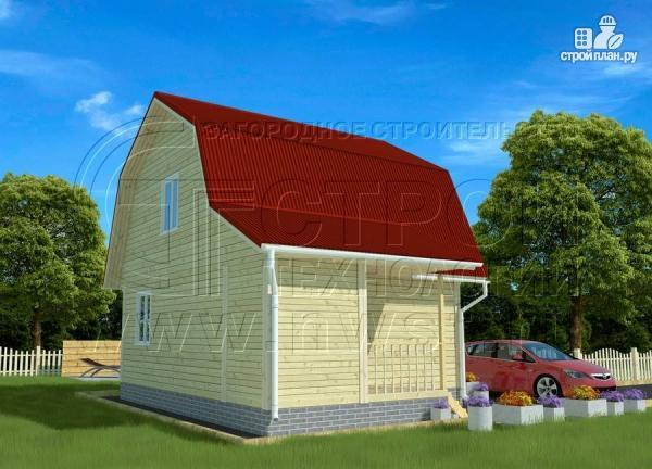 Фото 3: проект дачный дом 6х6 м с крыльцом и мансардой