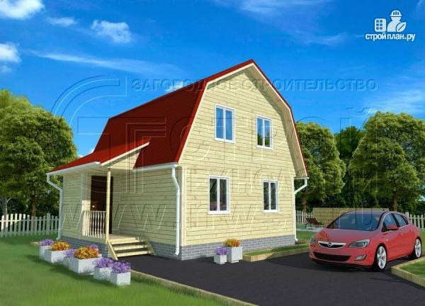 Фото: проект дачный дом 6х6 м с крыльцом и мансардой