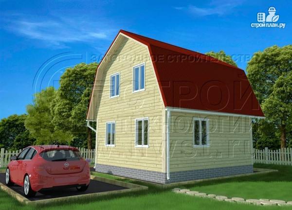 Фото 2: проект дачный дом 6х6 м с крыльцом и мансардой