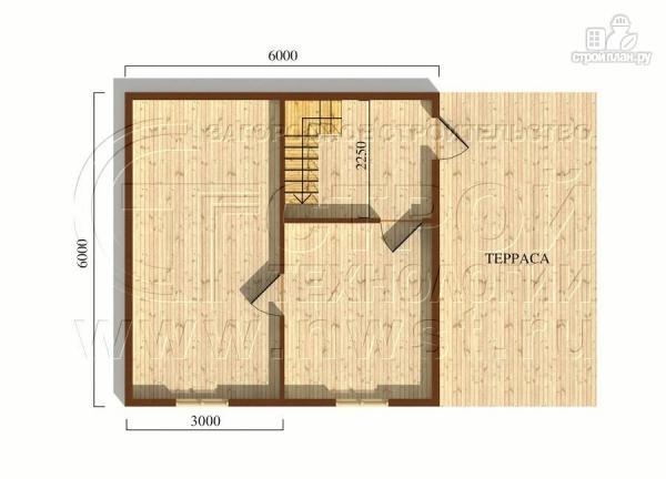 Фото 5: проект дачный дом 6х6 м с большой террасой и мансардным этажом