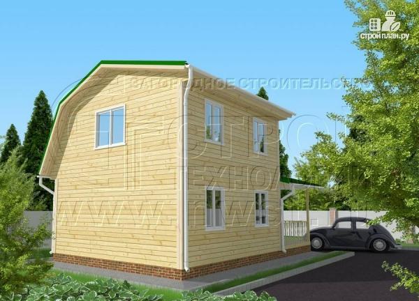 Фото 3: проект дачный дом 6х6 м с большой террасой и мансардным этажом