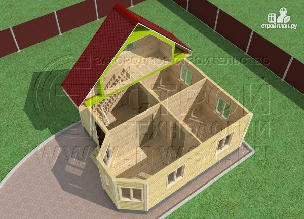 Фото 4: проект дачный дом 6х6 м с мансардой, эркером и двумя «фонарями»
