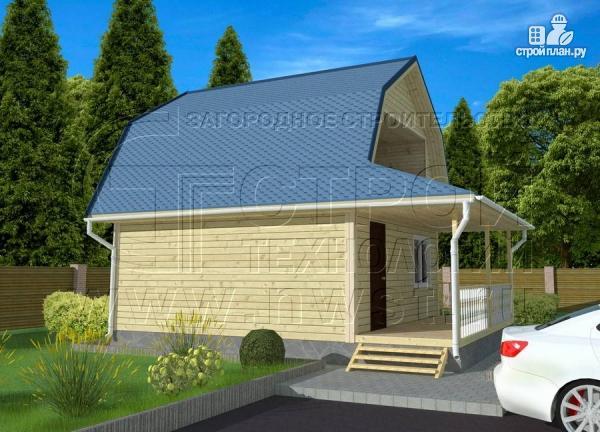 Фото 2: проект дачный дом 6х6 м с лоджией в мансарде и террасой