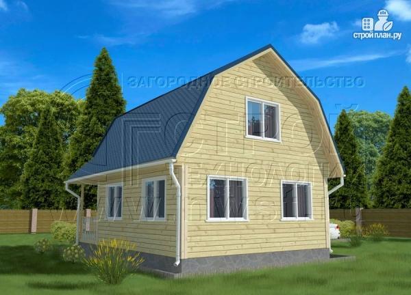 Фото 3: проект дачный дом 6х6 м с лоджией в мансарде и террасой