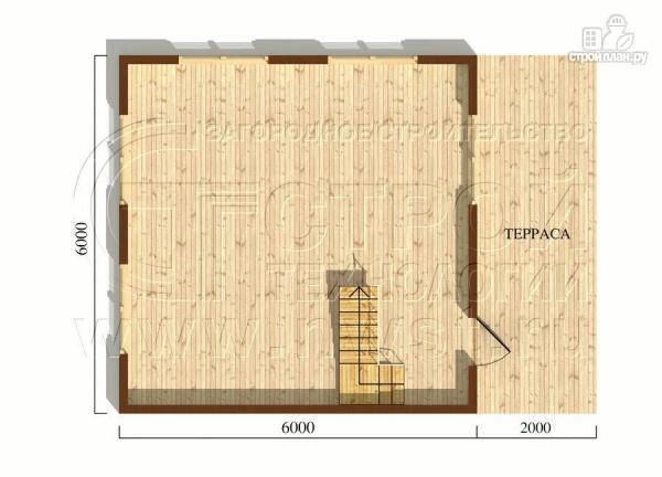 Фото 5: проект дачный дом 6х6 м с лоджией в мансарде и террасой