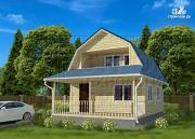 Проект дачный дом 6х6 м с лоджией в мансарде и террасой