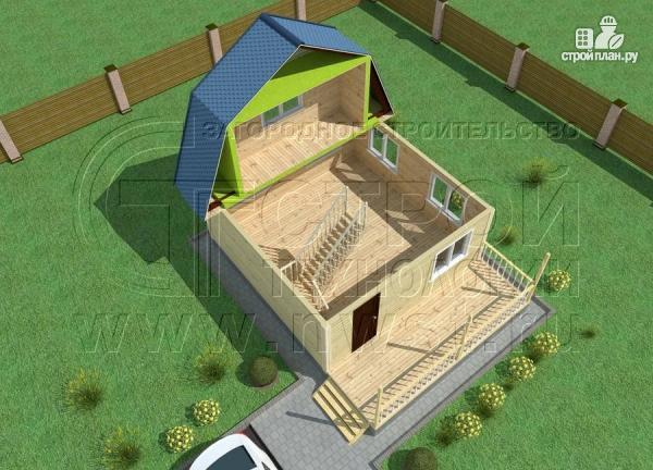 Фото 4: проект дачный дом 6х6 м с лоджией в мансарде и террасой