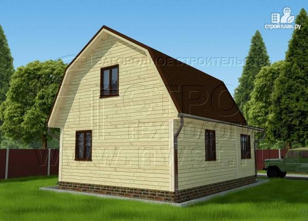 Фото 3: проект дачный дом 6х6 м из бруса сверандой