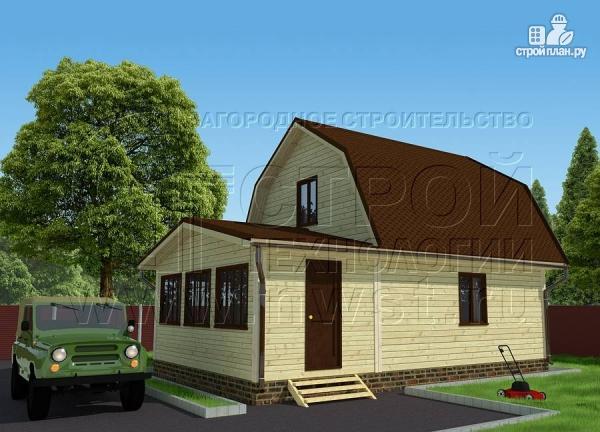 Фото: проект дачный дом 6х6 м из бруса сверандой