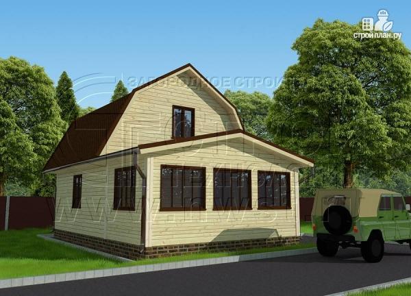Фото 2: проект дачный дом 6х6 м из бруса сверандой