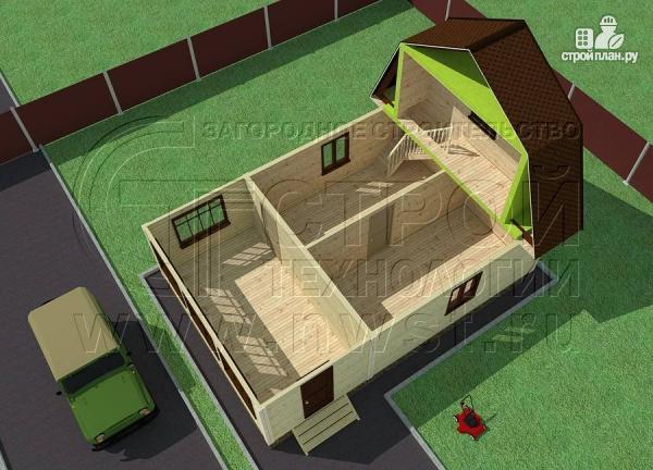 Фото 4: проект дачный дом 6х6 м из бруса сверандой