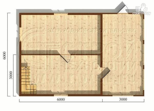 Фото 5: проект дачный дом 6х6 м из бруса сверандой