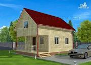Проект брусовой дачный дом 6х6 м с террасой