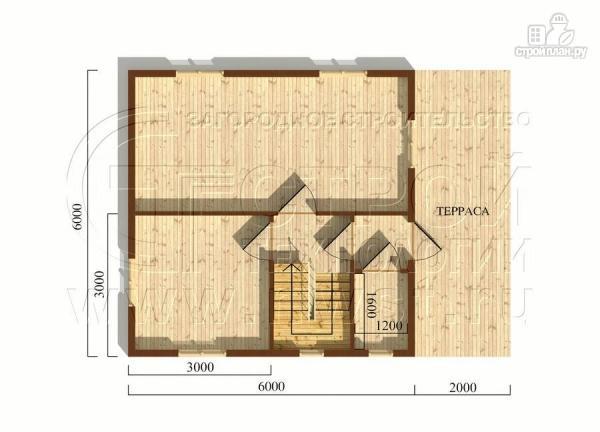 Фото 5: проект брусовой дачный дом 6х6 м с террасой