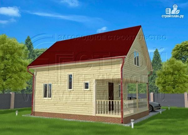 Фото 2: проект брусовой дачный дом 6х6 м с террасой