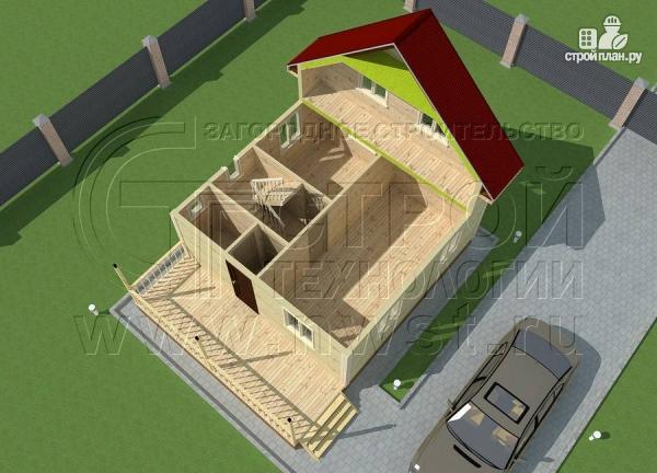 Фото 4: проект брусовой дачный дом 6х6 м с террасой
