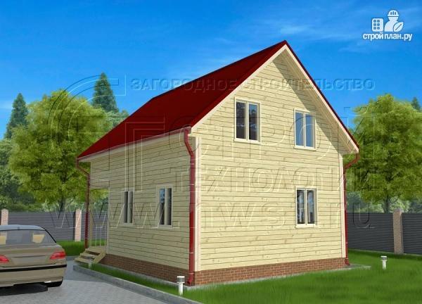 Фото 3: проект брусовой дачный дом 6х6 м с террасой