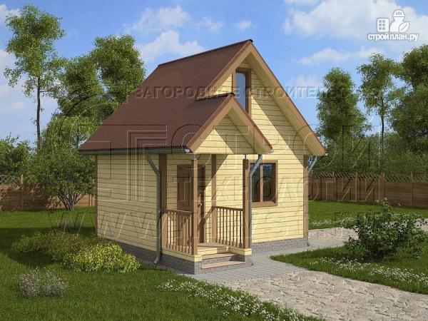 Фото: проект дачный дом 5х4 м с мансардным этажом и крыльцом