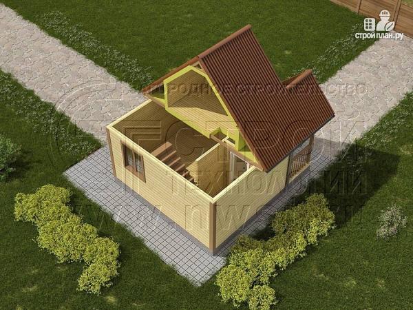 Фото 3: проект дачный дом 5х4 м с мансардным этажом и крыльцом