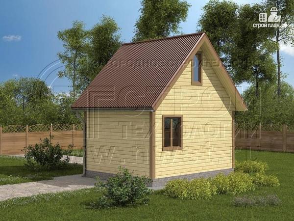 Фото 2: проект дачный дом 5х4 м с мансардным этажом и крыльцом