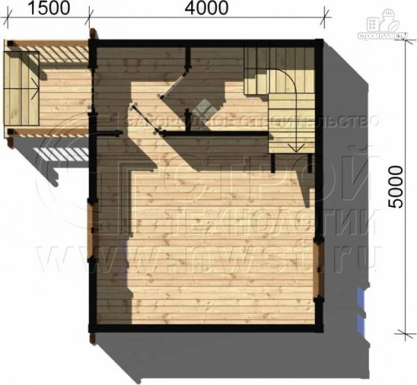Фото 4: проект дачный дом 5х4 м с мансардным этажом и крыльцом