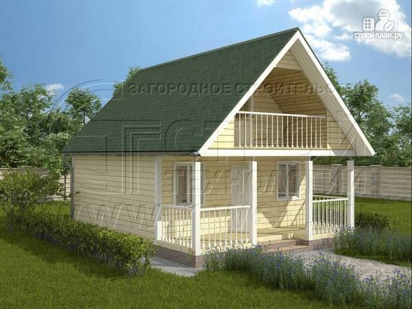 Фото: проект дачный дом 6х6 м с лоджией и террасой