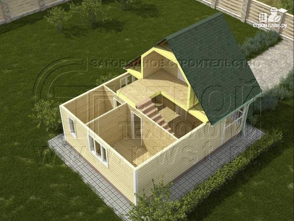 Фото 3: проект дачный дом 6х6 м с лоджией и террасой
