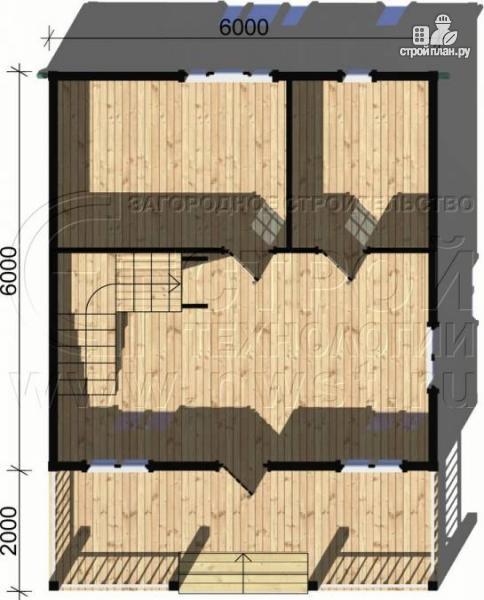 Фото 4: проект дачный дом 6х6 м с лоджией и террасой