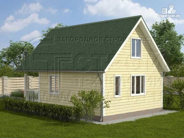 Фото 2: проект дачный дом 6х6 м с лоджией и террасой