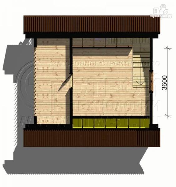 Фото 5: проект дом 6х4 м из бруса с мансардой и террасой