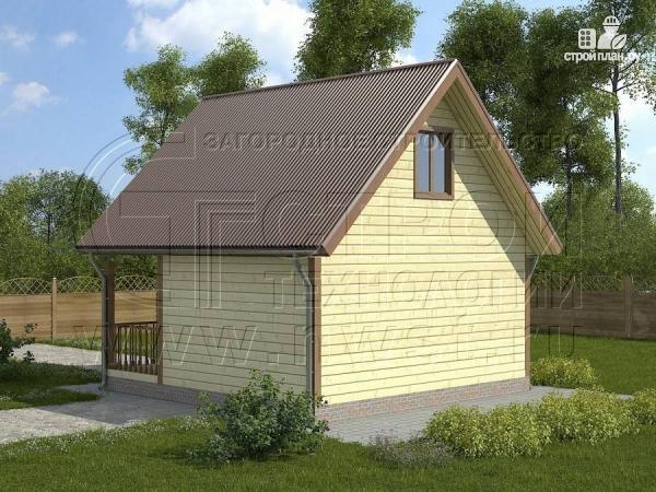 Фото 2: проект дом 6х4 м из бруса с мансардой и террасой