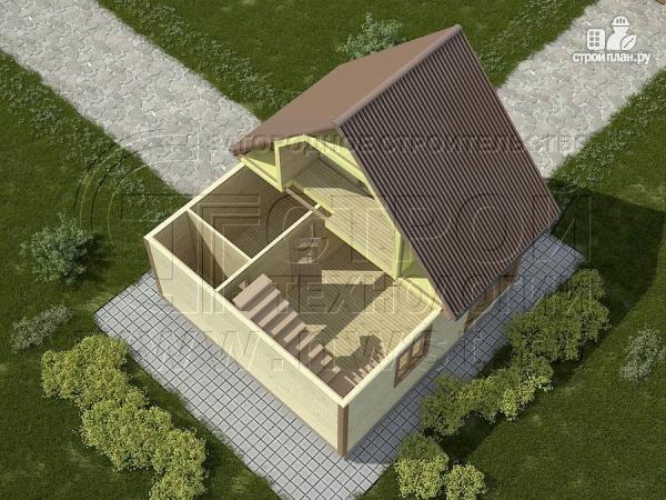 Фото 3: проект дом 6х4 м из бруса с мансардой и террасой