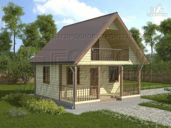 Фото: проект дом 6х4 м из бруса с мансардой и террасой