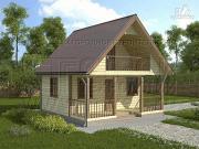 Проект дом 6х4 м из бруса с мансардой и террасой