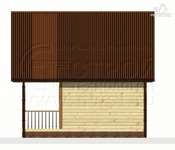 Фото 7: проект дом 6х4 м из бруса с мансардой и террасой