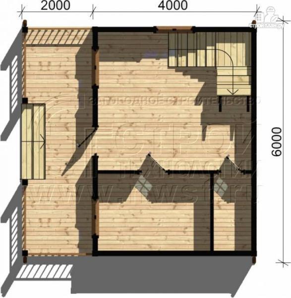 Фото 4: проект дом 6х4 м из бруса с мансардой и террасой