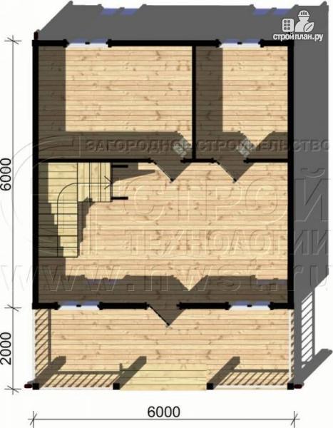 Фото 4: проект дом 6х6 м с мансардой и террасой 12 м2