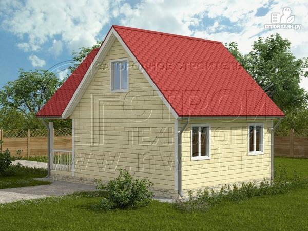 Фото 2: проект дом 6х6 м с мансардой и террасой 12 м2