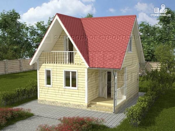Фото: проект дачный дом 6х6 м с балконом и мансардой