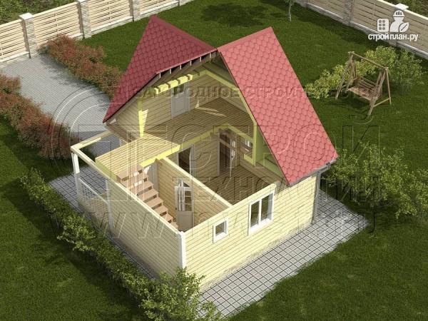 Фото 3: проект дачный дом 6х6 м с балконом и мансардой