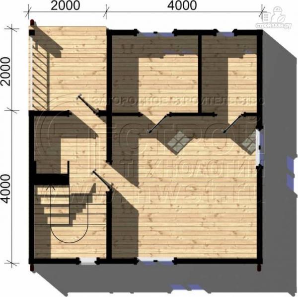 Фото 4: проект дачный дом 6х6 м с балконом и мансардой