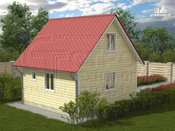 Фото 2: проект дачный дом 6х6 м с балконом и мансардой