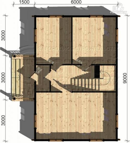 Фото 4: проект загородный дом 6х9 м с крыльцом