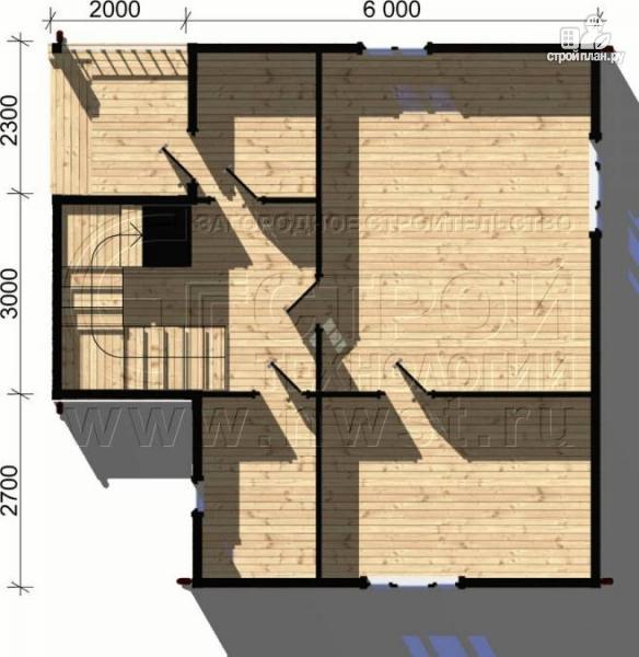 Фото 4: проект дачный дом 6х8 м из бруса, с балконом в мансарде