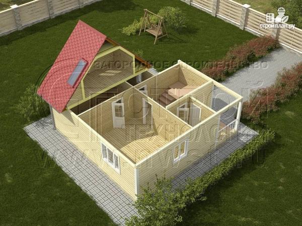 Фото 3: проект дачный дом 6х8 м из бруса, с балконом в мансарде